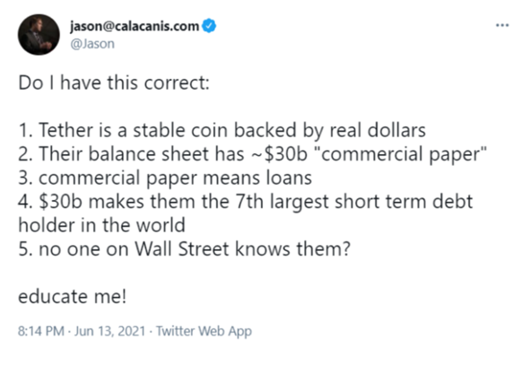 Bitcoin and Reserve Currencies: Twitter Post from @Jason on Tether