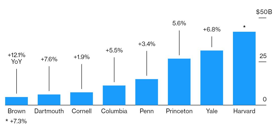 Traditional 60/40 Portfolio: Ivy League Endowments Graph
